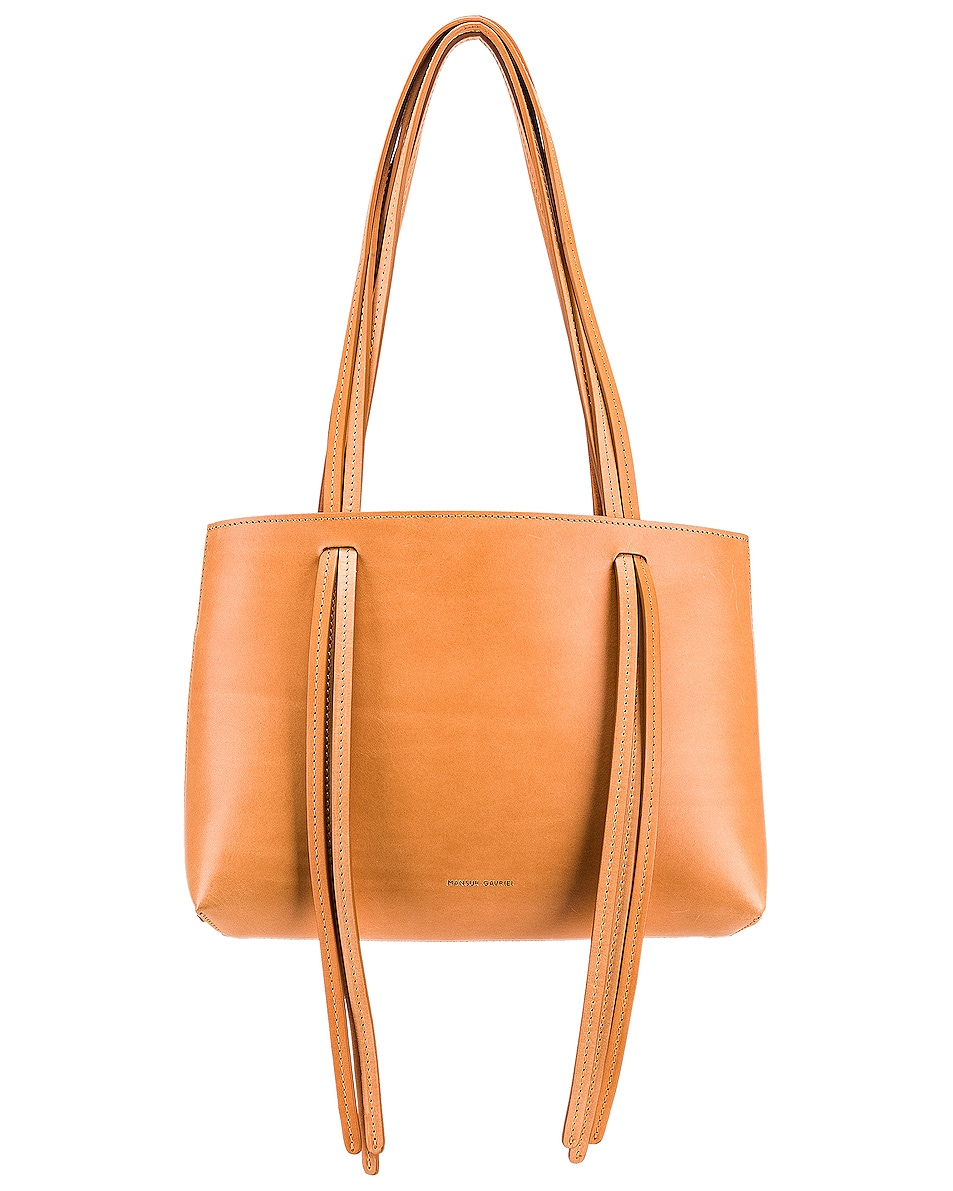 Image 1 of Mansur Gavriel Mini Fringe Bag in Cammello & Rosa