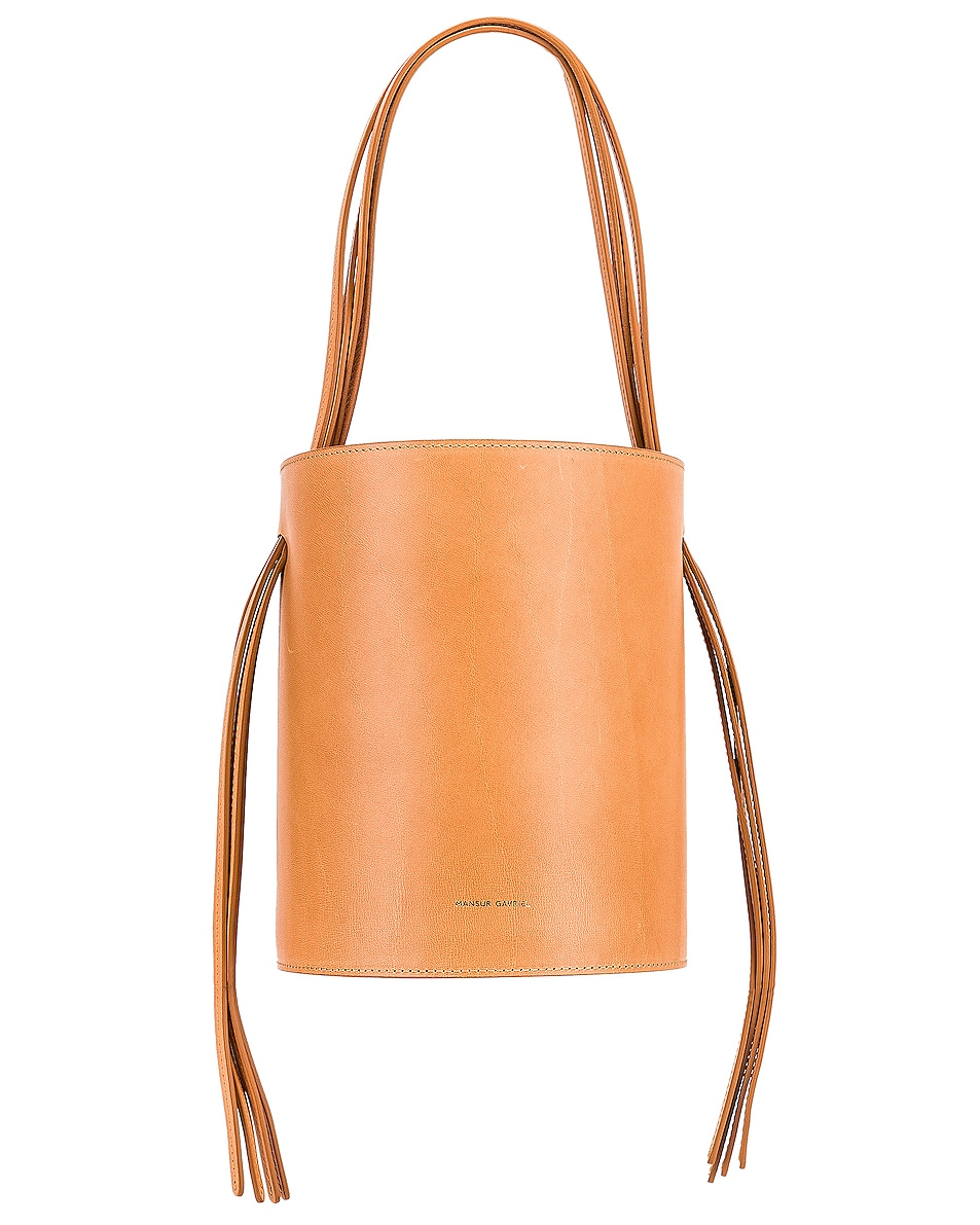 Image 1 of Mansur Gavriel Fringe Bucket in Cammello & Rosa