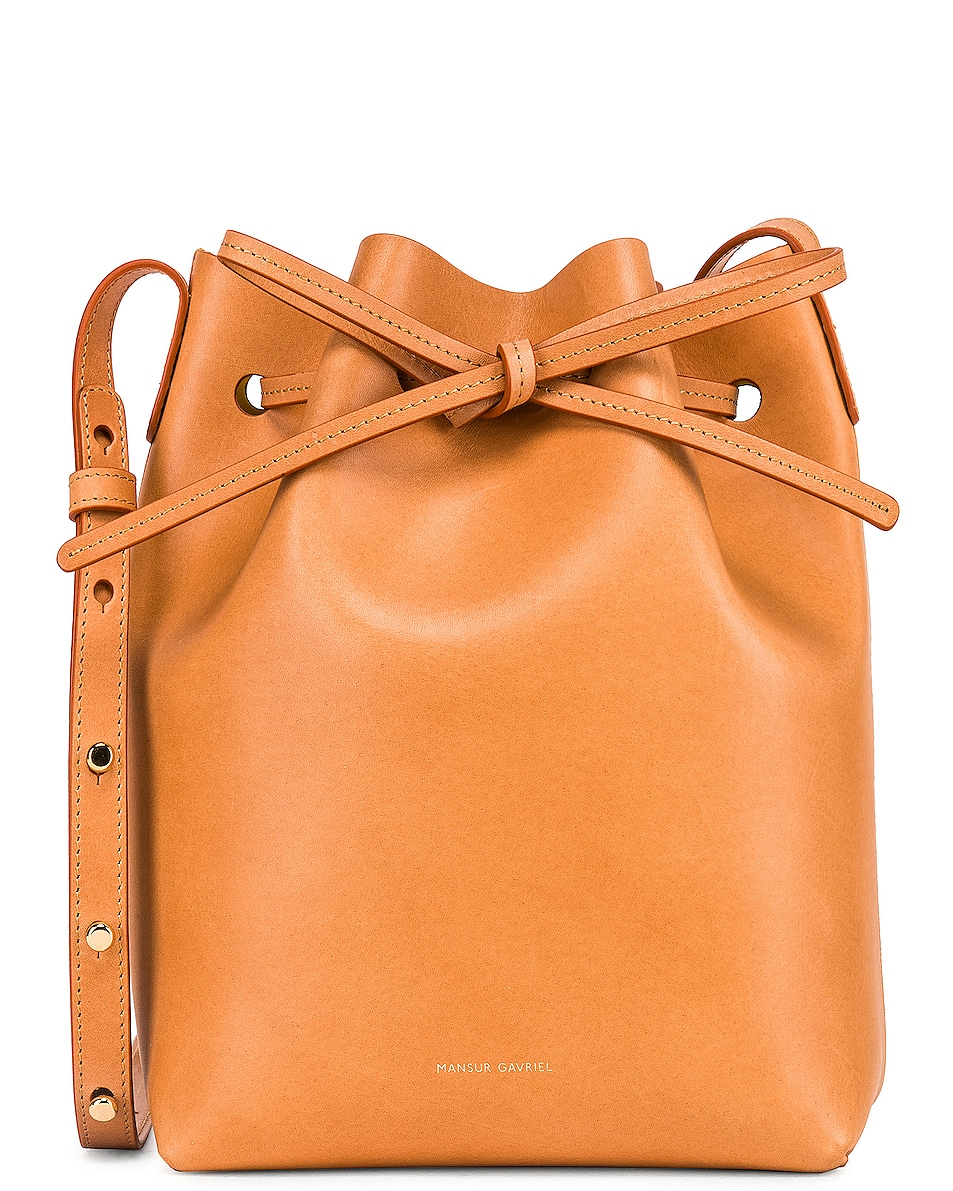 Image 1 of Mansur Gavriel Mini Bucket in Cammello & Sun