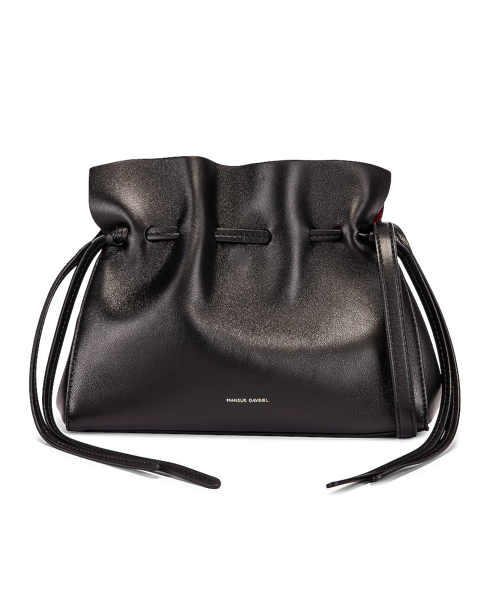 Image 1 of Mansur Gavriel Mini Protea Bag in Black & Flamma