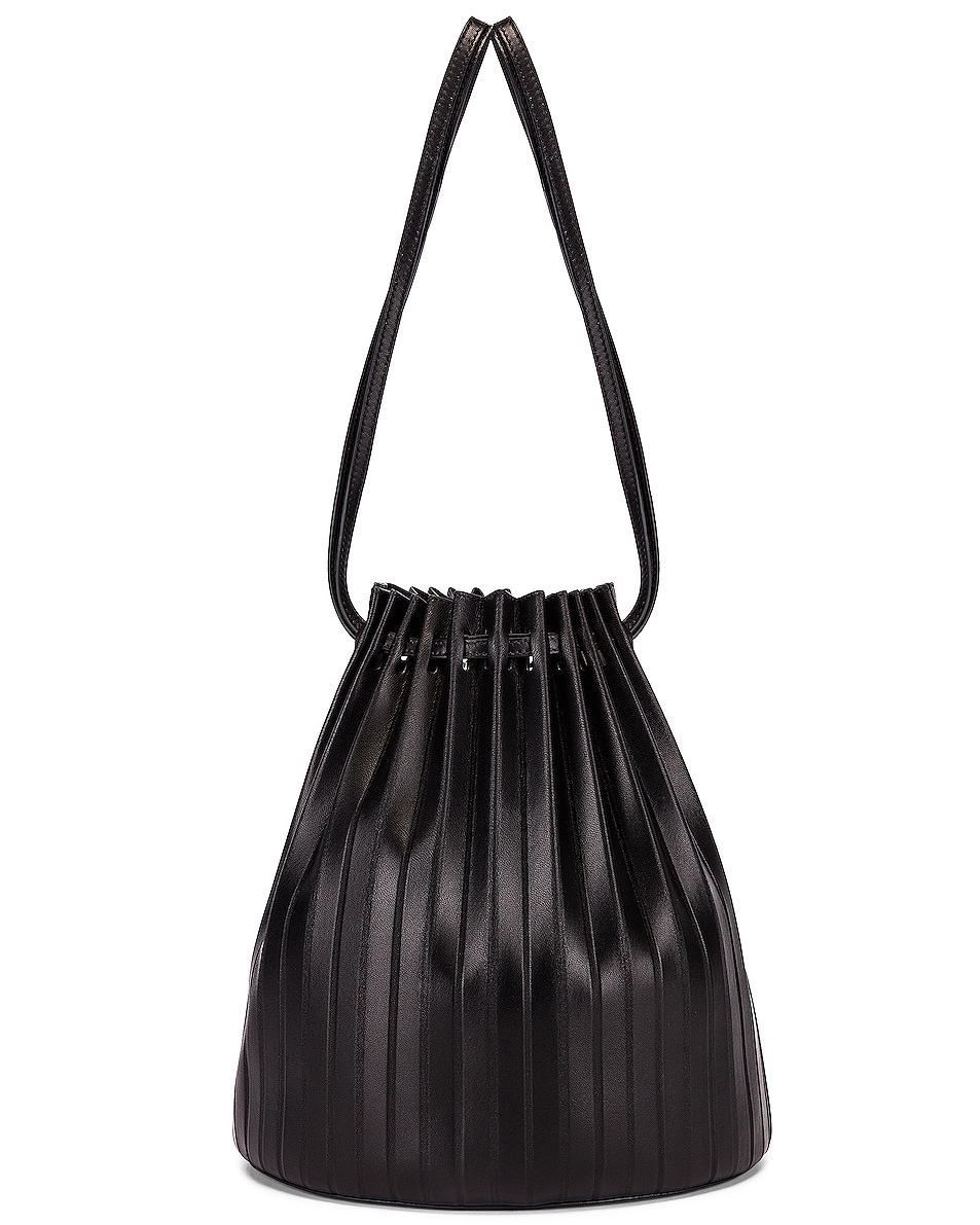 Image 1 of Mansur Gavriel Pleated Bucket Bag in Black