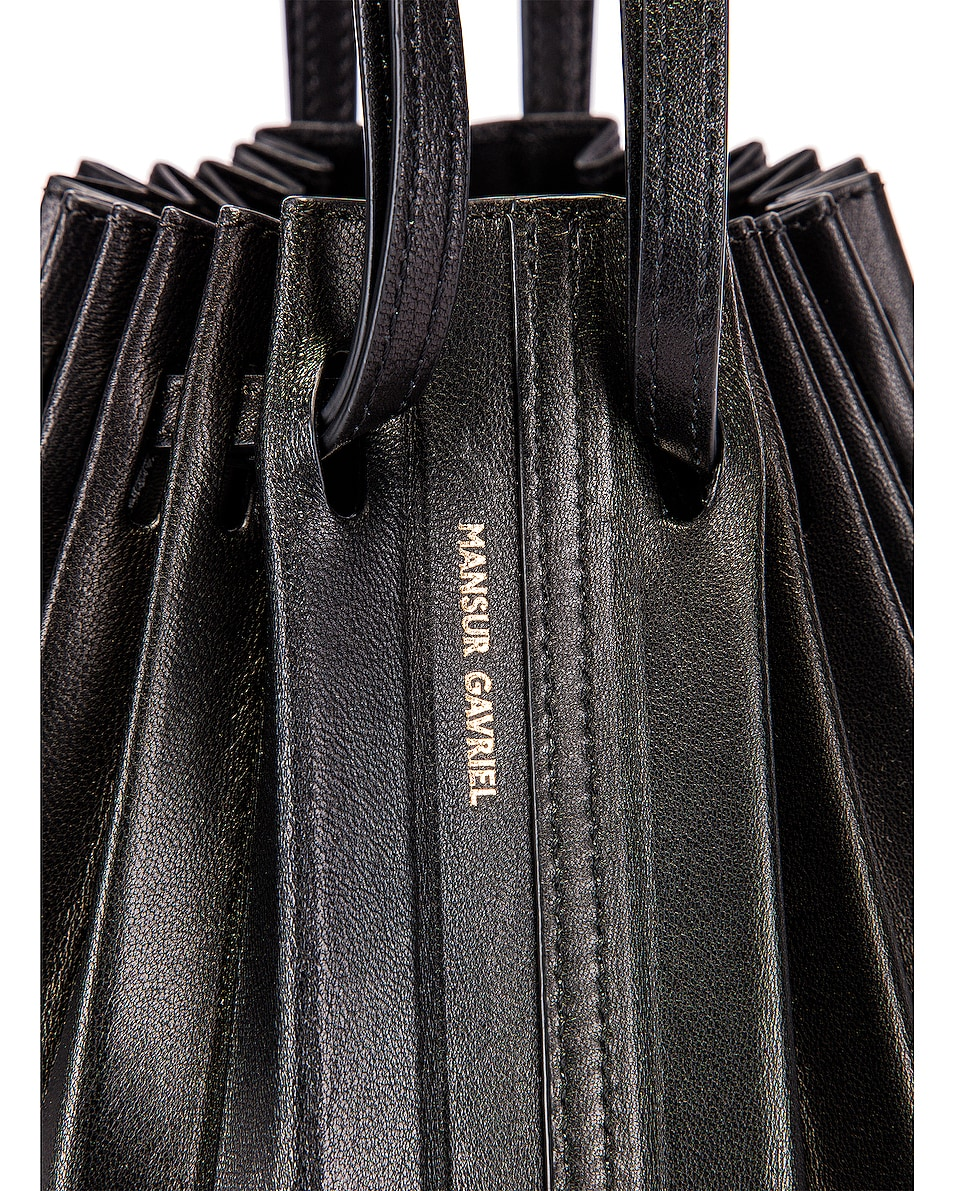 Image 7 of Mansur Gavriel Pleated Bucket Bag in Black