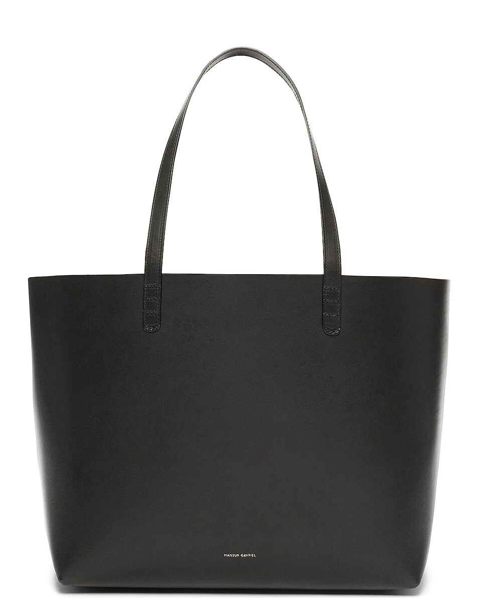 Image 1 of Mansur Gavriel Coated Large Tote in Black & Ballerina