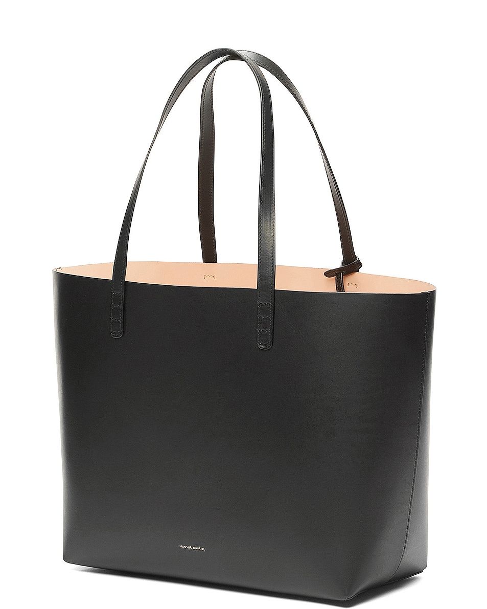 Image 3 of Mansur Gavriel Coated Large Tote in Black & Ballerina