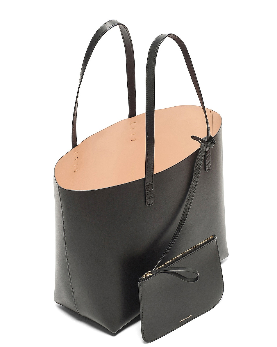 Image 4 of Mansur Gavriel Coated Large Tote in Black & Ballerina