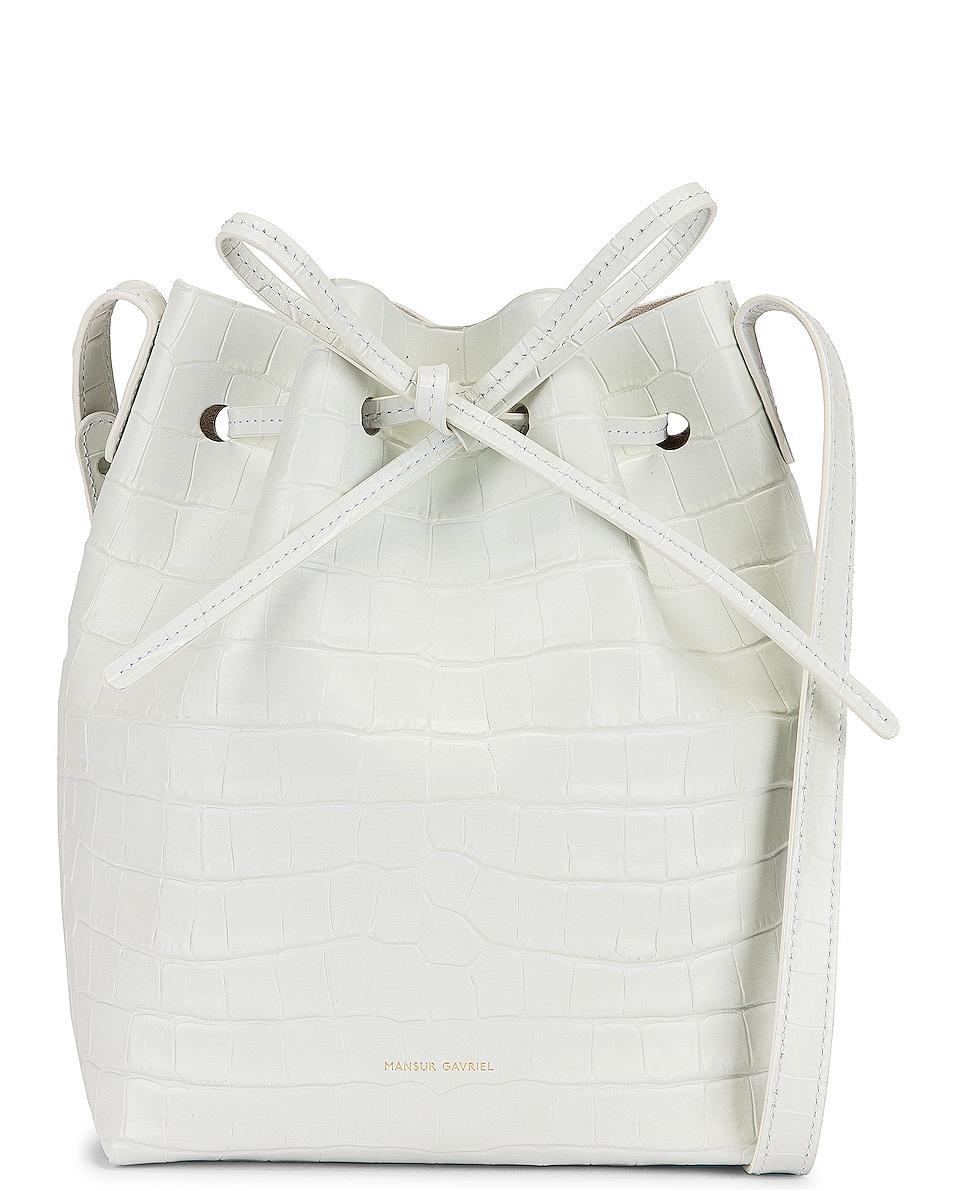 Image 1 of Mansur Gavriel Mini Bucket Bag in White