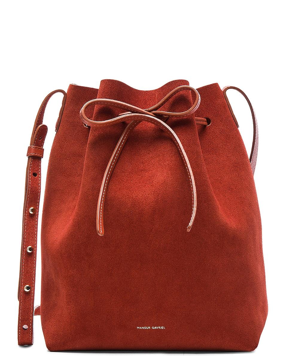 Image 1 of Mansur Gavriel Bucket Bag in Brick Suede