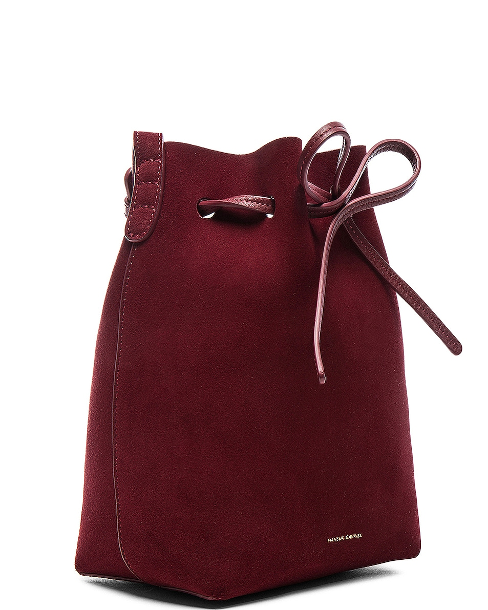 Image 4 of Mansur Gavriel Mini Bucket Bag in Rococo Suede