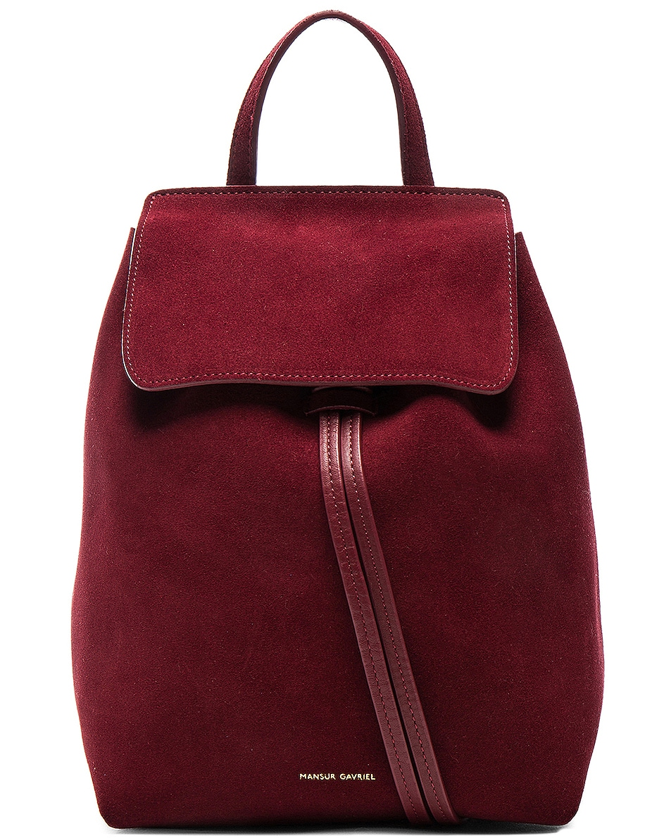 Image 1 of Mansur Gavriel Mini Backpack in Rococo Suede