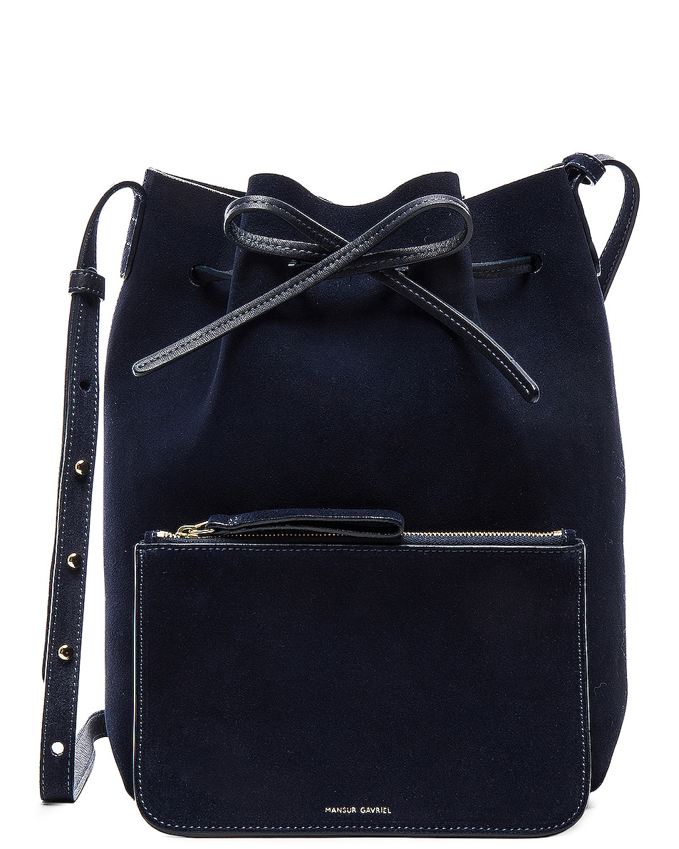 Image 7 of Mansur Gavriel Bucket Bag in Blu Suede