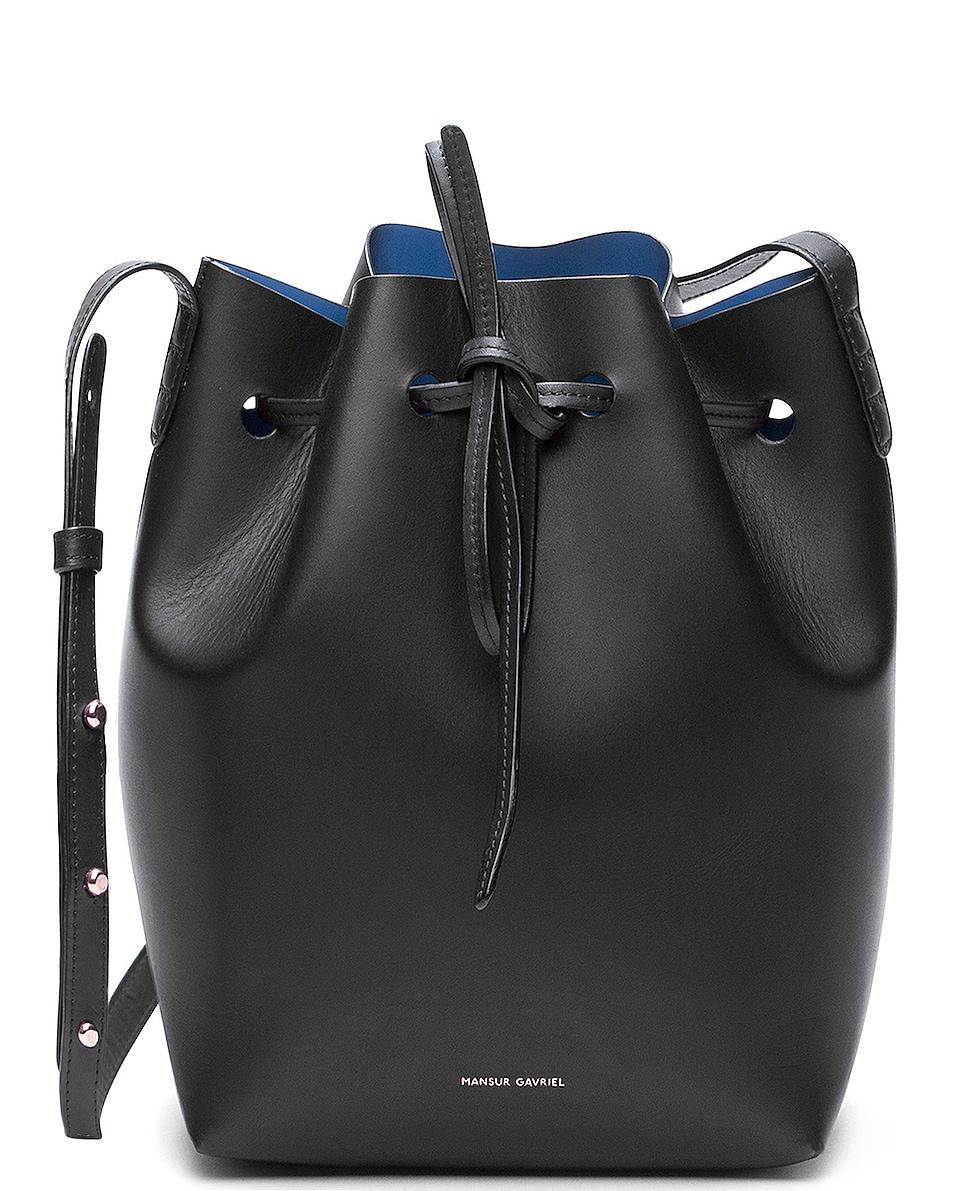 Image 1 of Mansur Gavriel Coated Mini Bucket Bag in Black & Royal