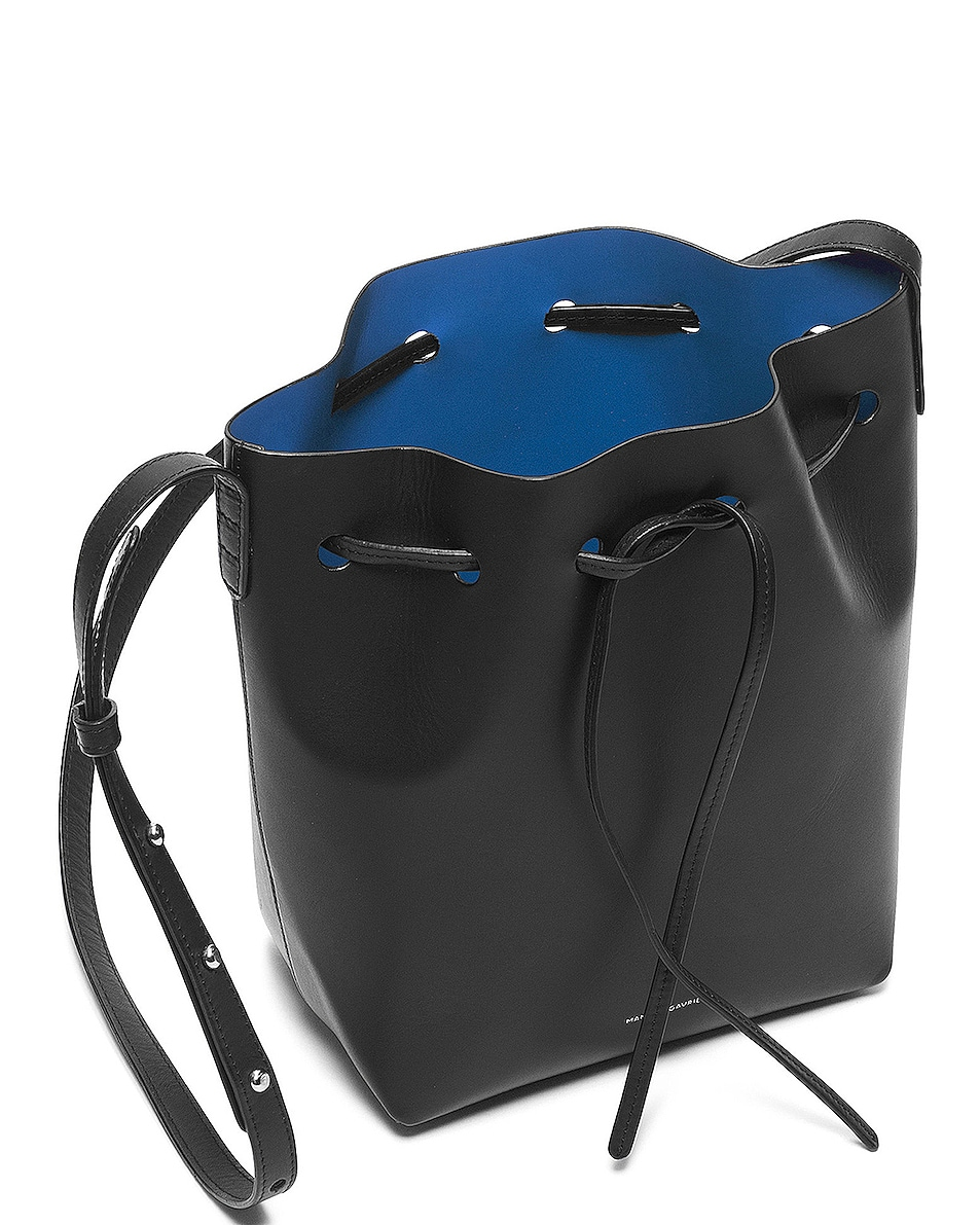 Image 4 of Mansur Gavriel Coated Mini Bucket Bag in Black & Royal