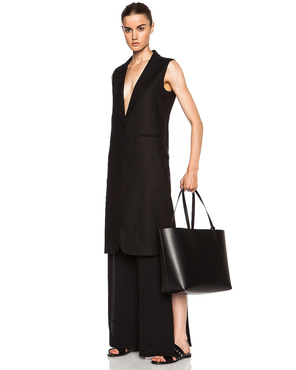 Image 2 of Mansur Gavriel Large Tote in Black & Flamma