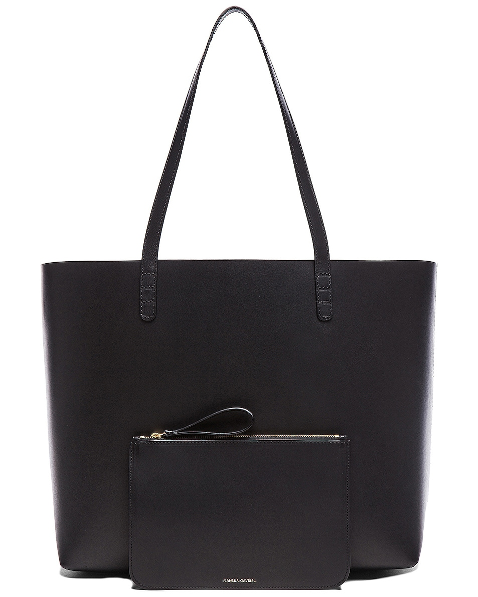 Image 6 of Mansur Gavriel Large Tote in Black & Flamma