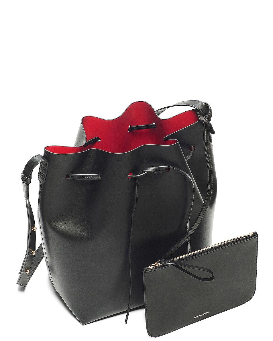 Image 4 of Mansur Gavriel Coated Large Bucket Bag in Black & Flamma