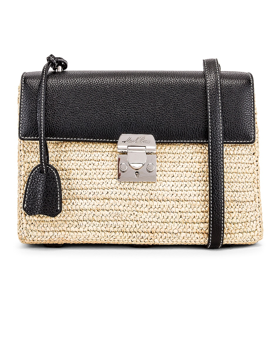 Image 1 of Mark Cross Downtown Raffia Bag in Natural & Black