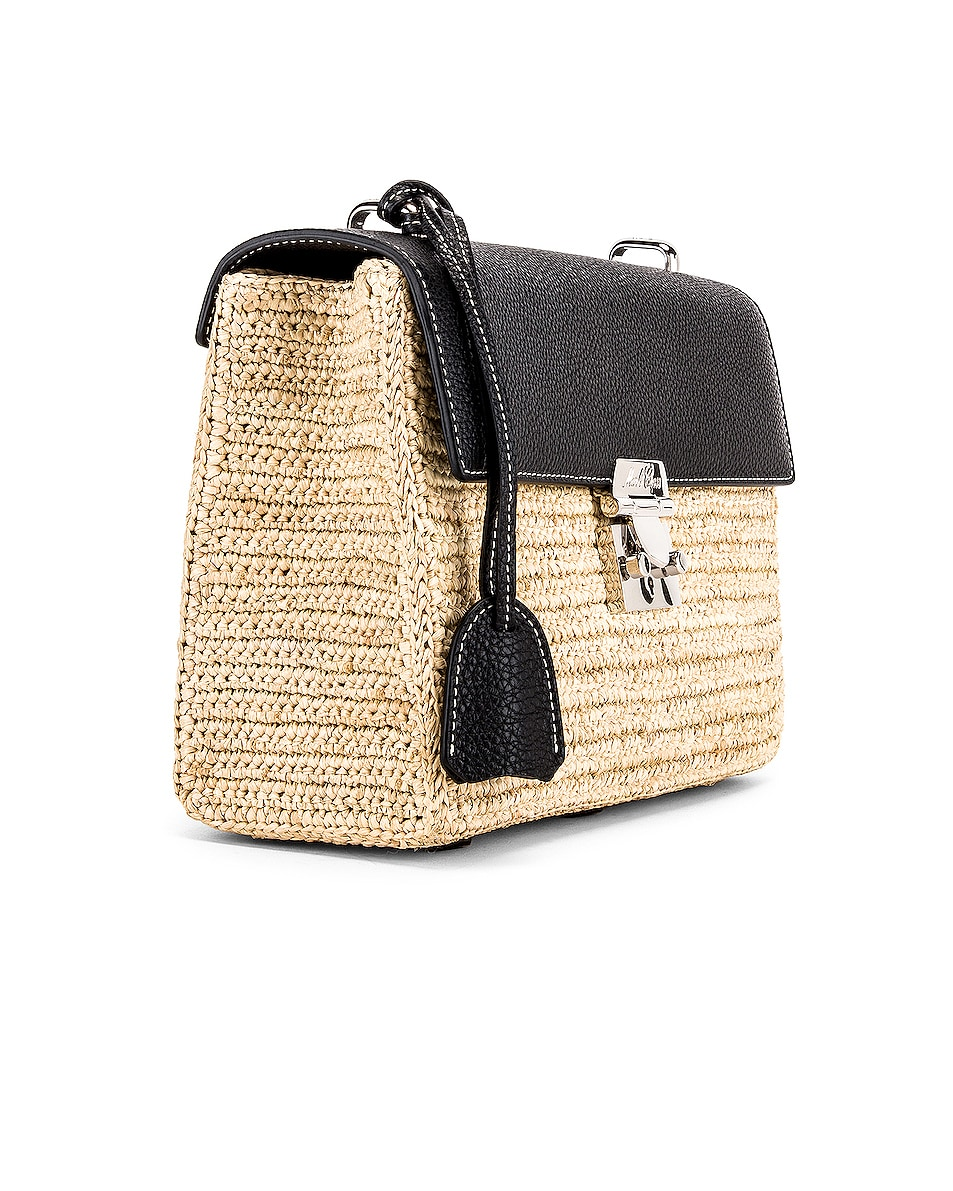 Image 4 of Mark Cross Downtown Raffia Bag in Natural & Black