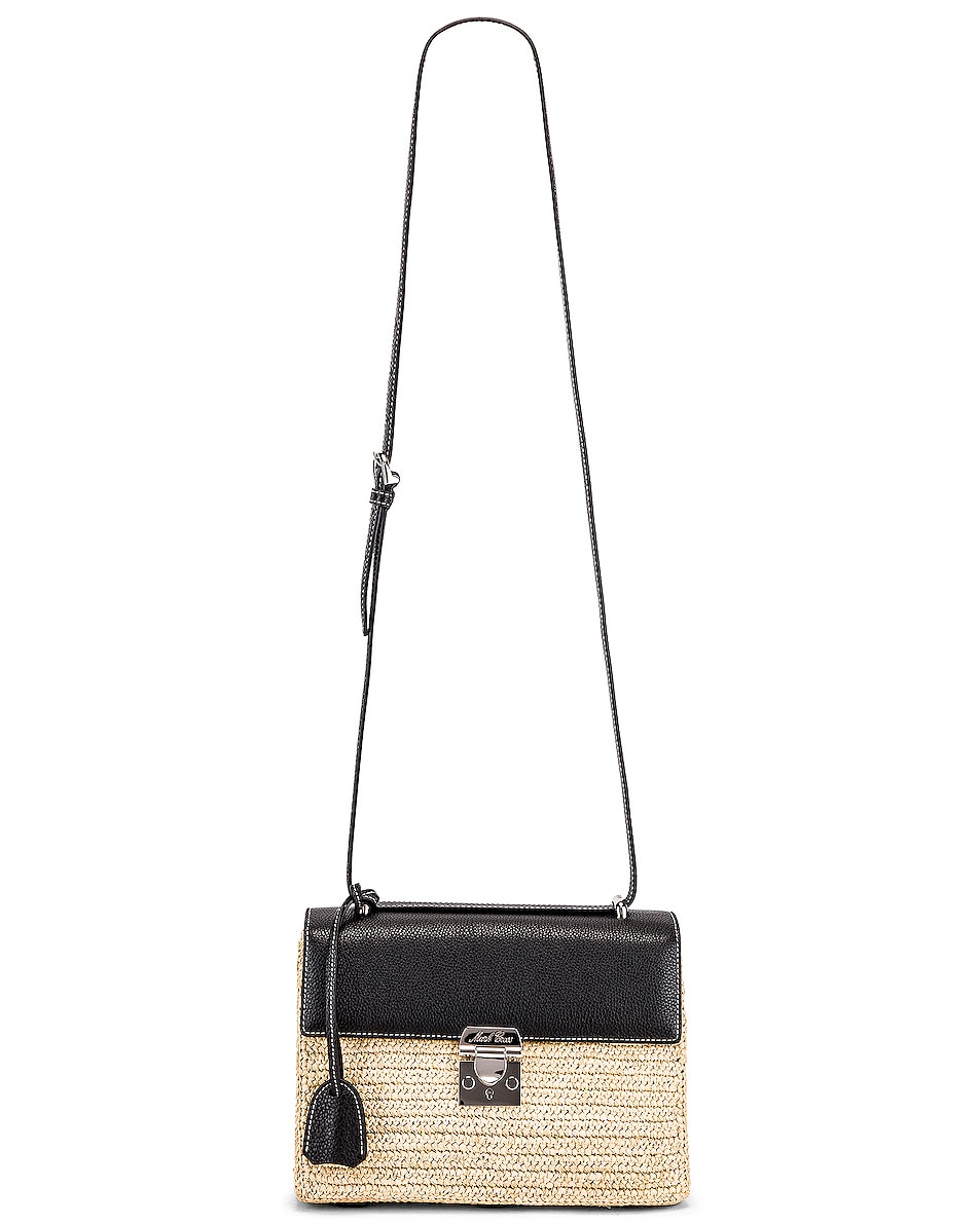 Image 6 of Mark Cross Downtown Raffia Bag in Natural & Black