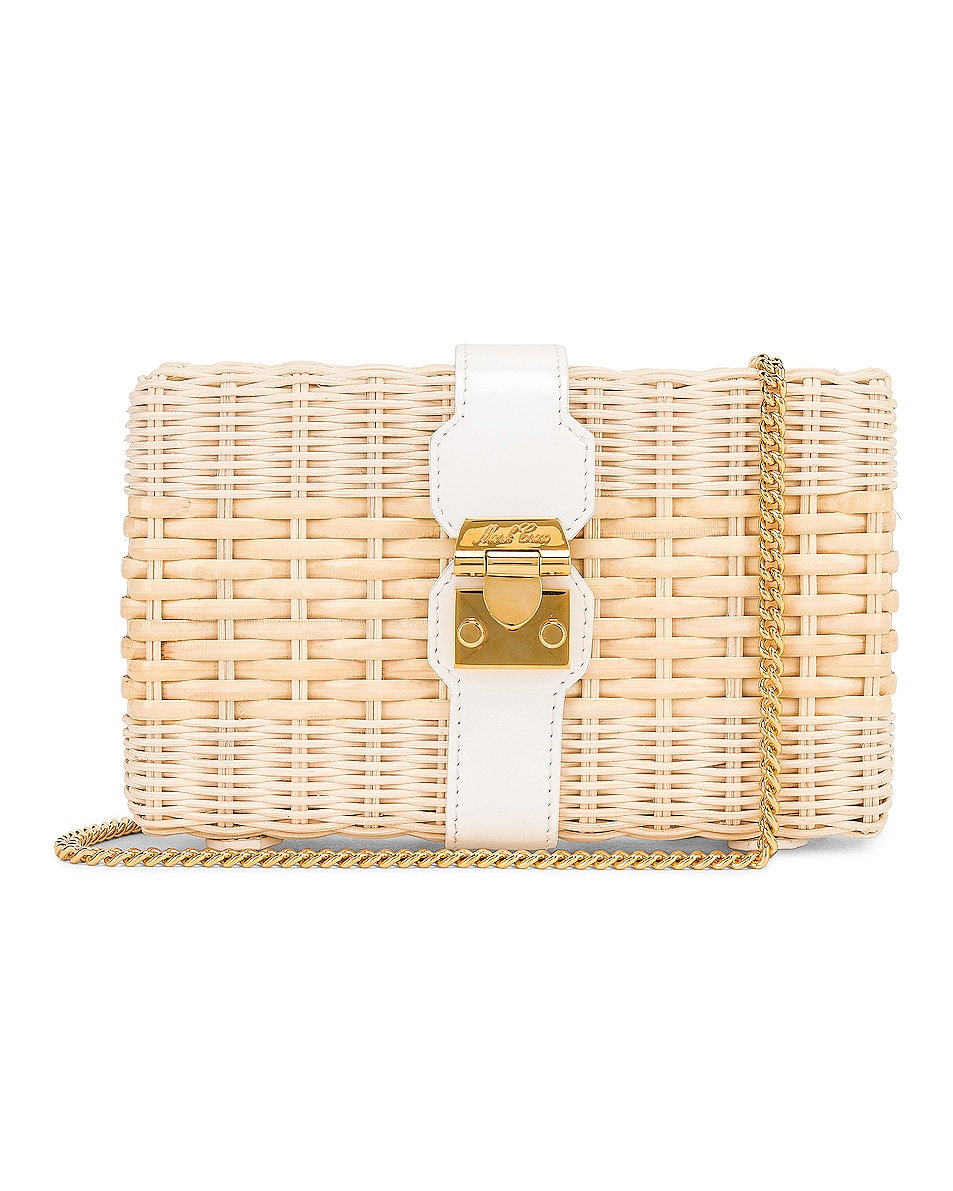 Image 1 of Mark Cross Rattan Clutch in Bleached & White