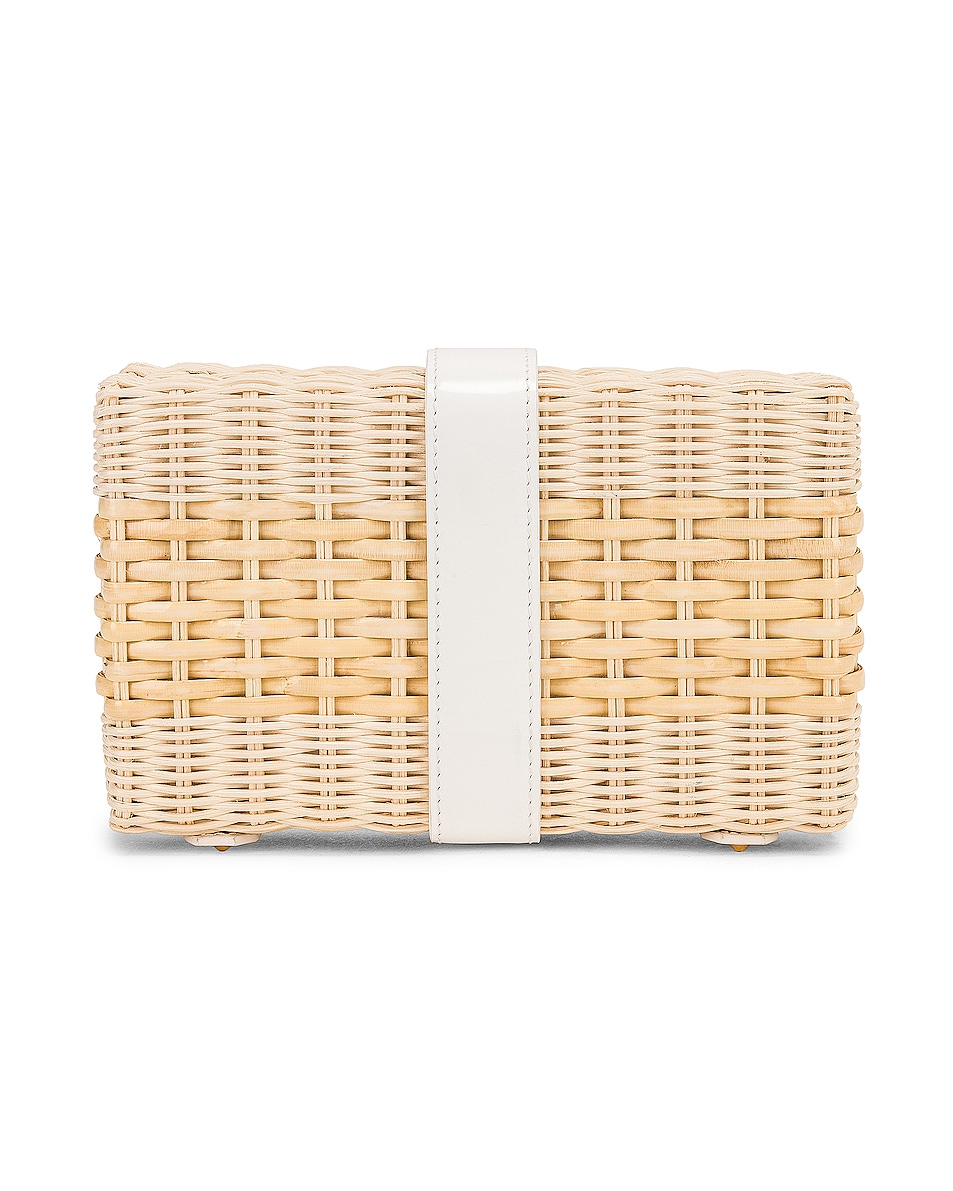 Image 3 of Mark Cross Rattan Clutch in Bleached & White