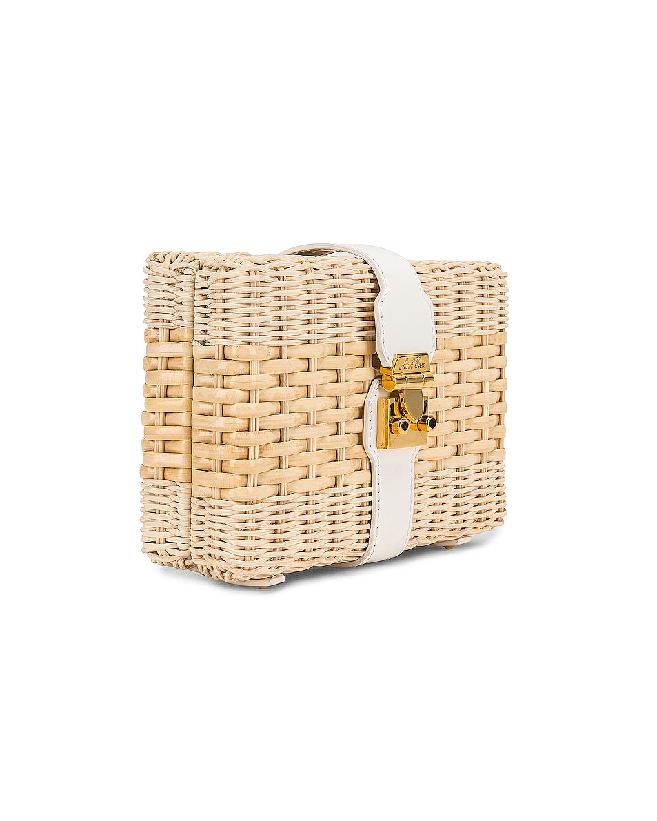 Image 4 of Mark Cross Rattan Clutch in Bleached & White