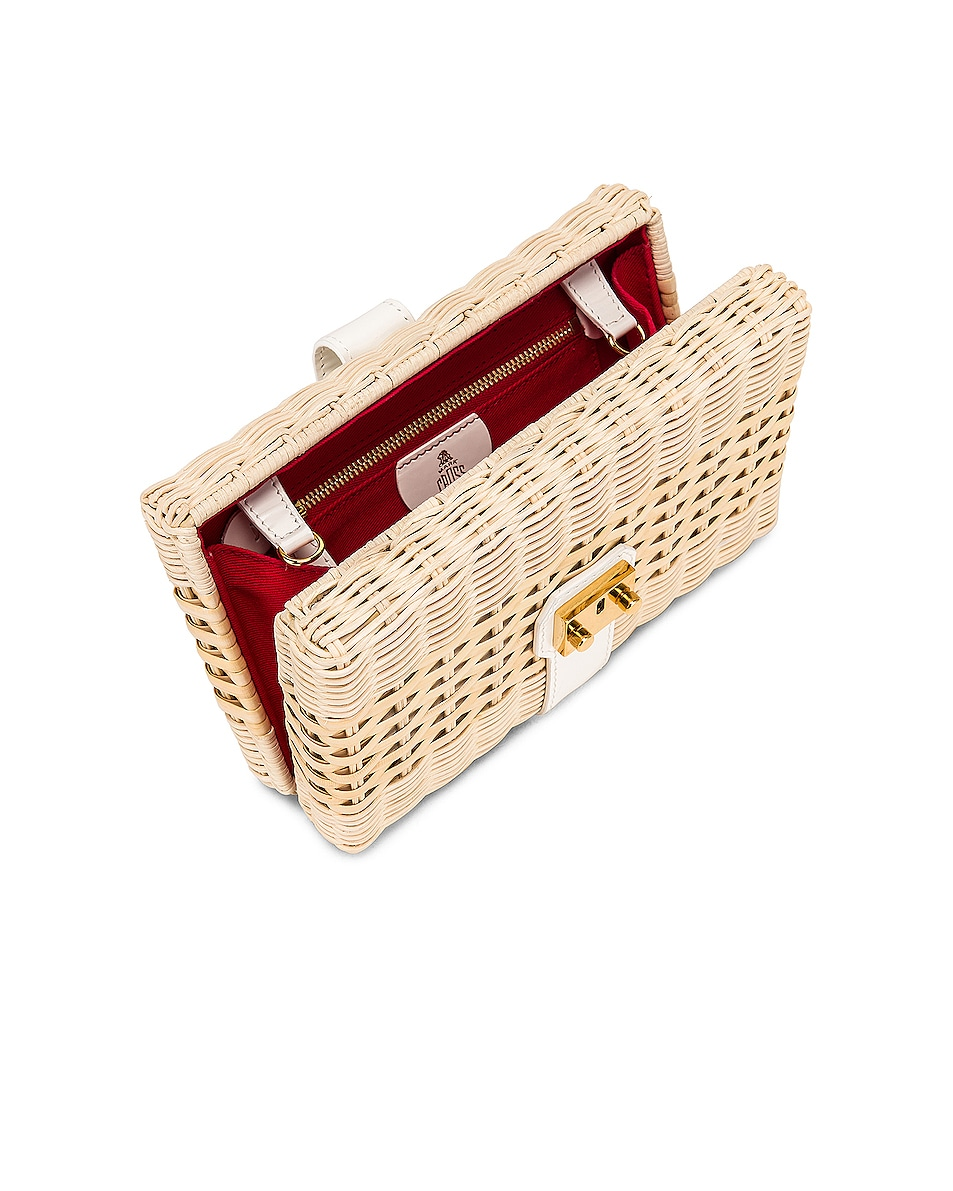 Image 5 of Mark Cross Rattan Clutch in Bleached & White