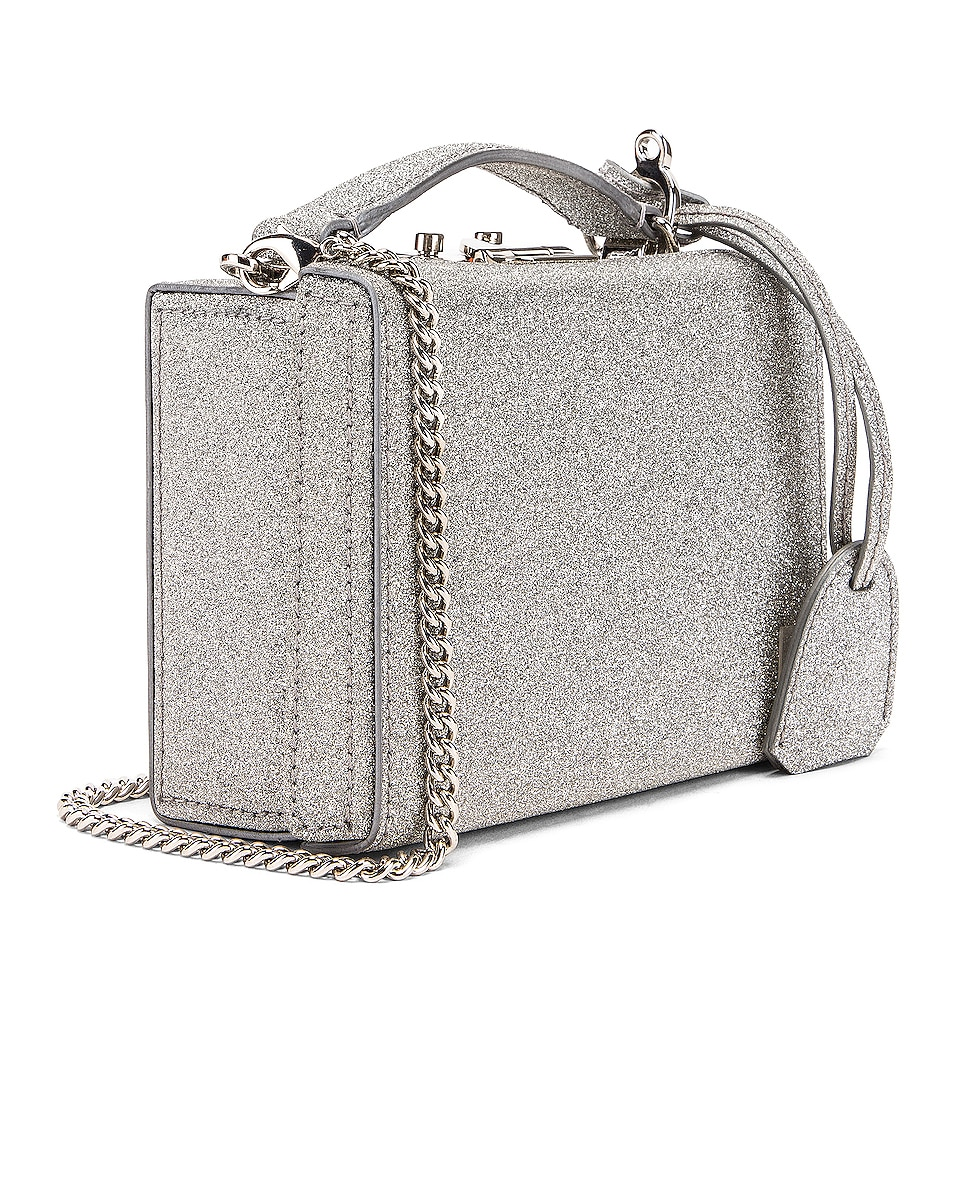 Image 4 of Mark Cross Grace Glitter Mini Box Bag in Silver