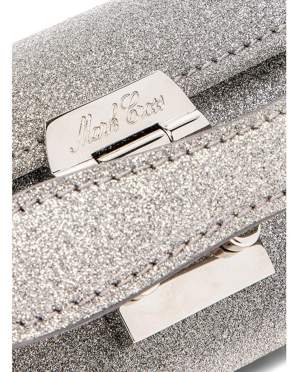 Image 8 of Mark Cross Grace Glitter Mini Box Bag in Silver