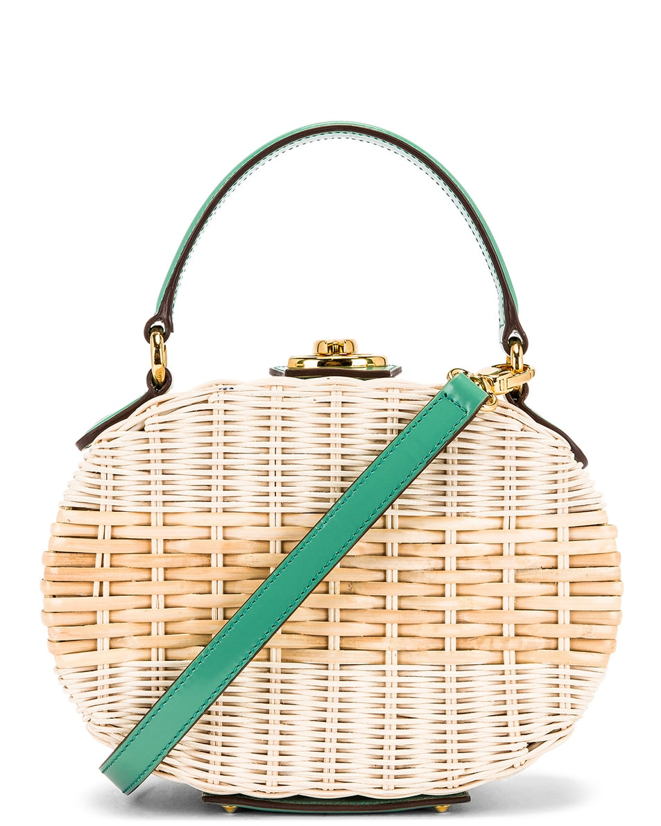 Image 1 of Mark Cross Gianna Oval Box Bag in Celadon