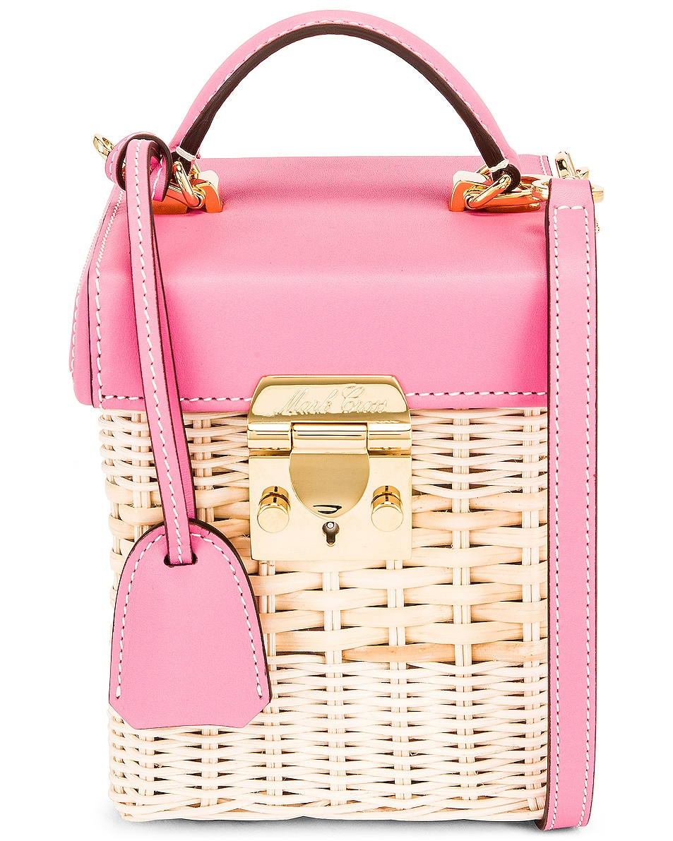 Image 1 of Mark Cross Grace Rattan Cube Bag in Flamingo