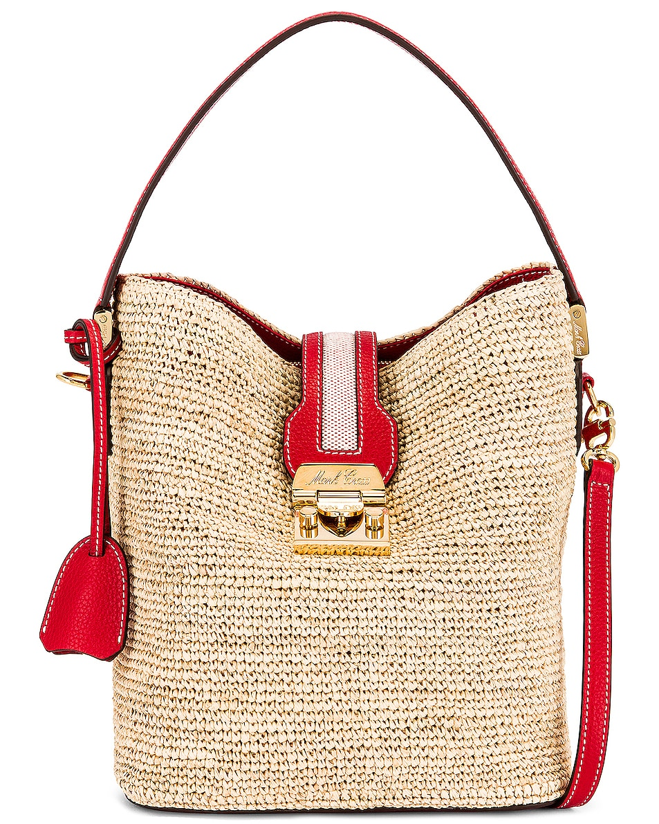 Image 1 of Mark Cross Murphy Raffia Bucket Bag in Red
