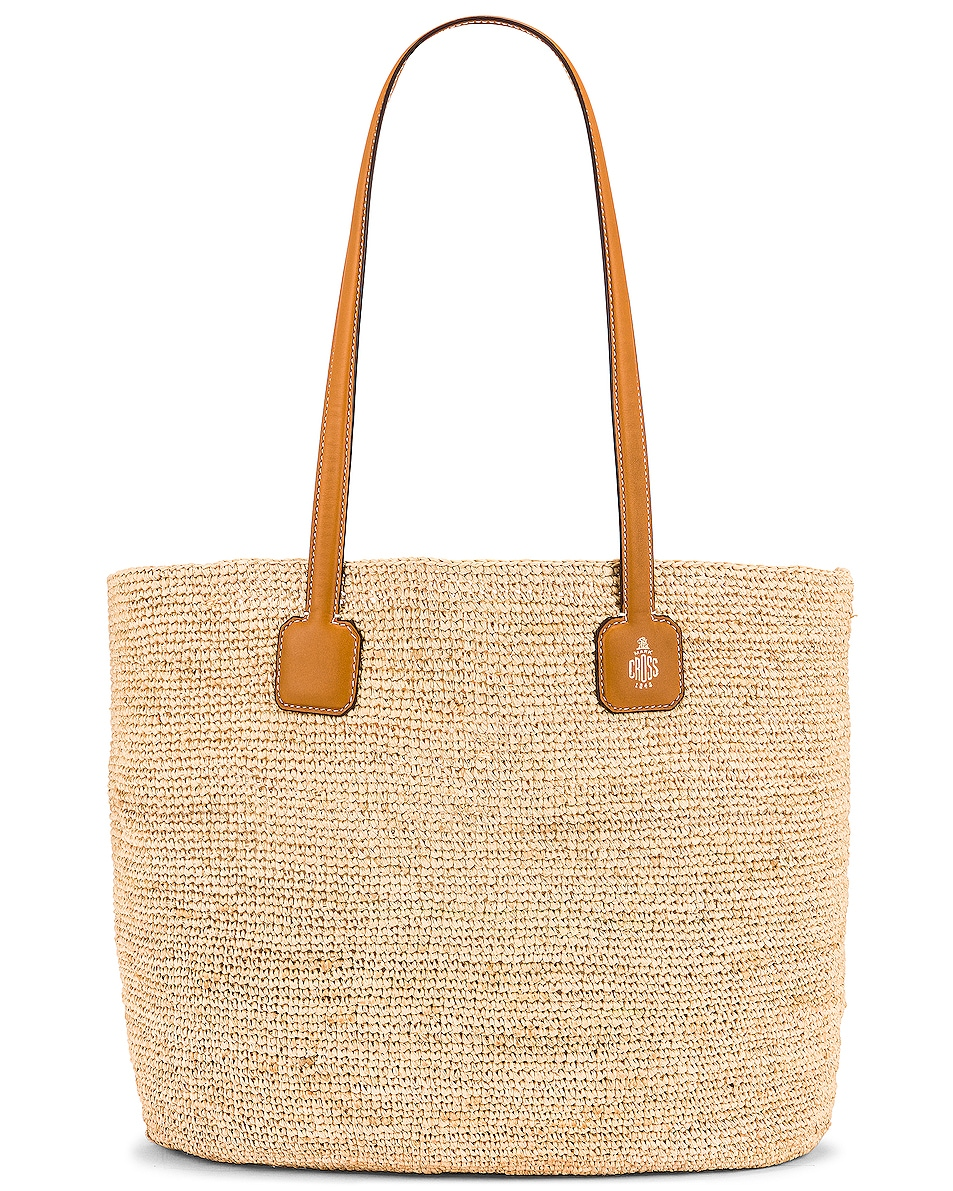 Image 1 of Mark Cross Raffia & Leather Cote D Tote in Luggage