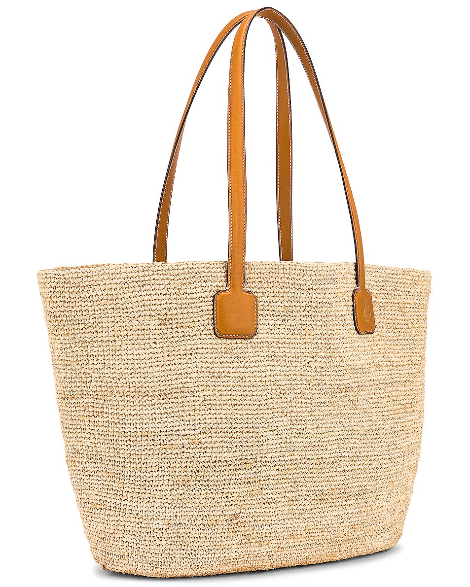 Image 4 of Mark Cross Raffia & Leather Cote D Tote in Luggage