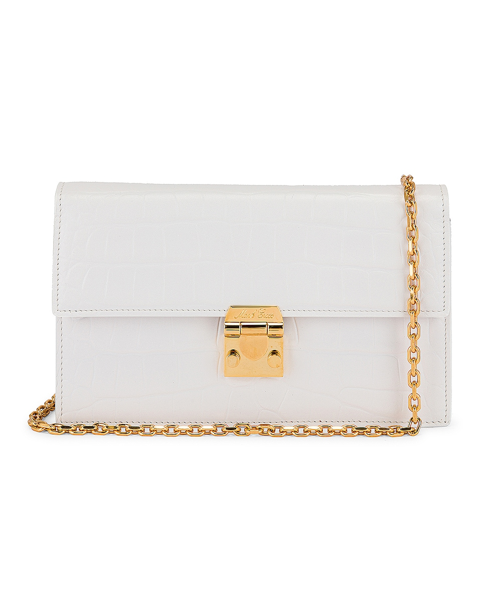 Image 1 of Mark Cross Jacqueline Croc Chain Bag in White