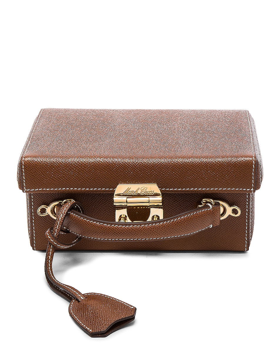 Image 1 of Mark Cross Small Saffiano Grace Box Bag in Acorn Saffiano