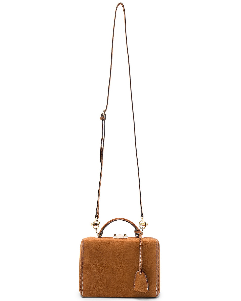 Image 7 of Mark Cross Grace Small Box Bag in Suede Acorn