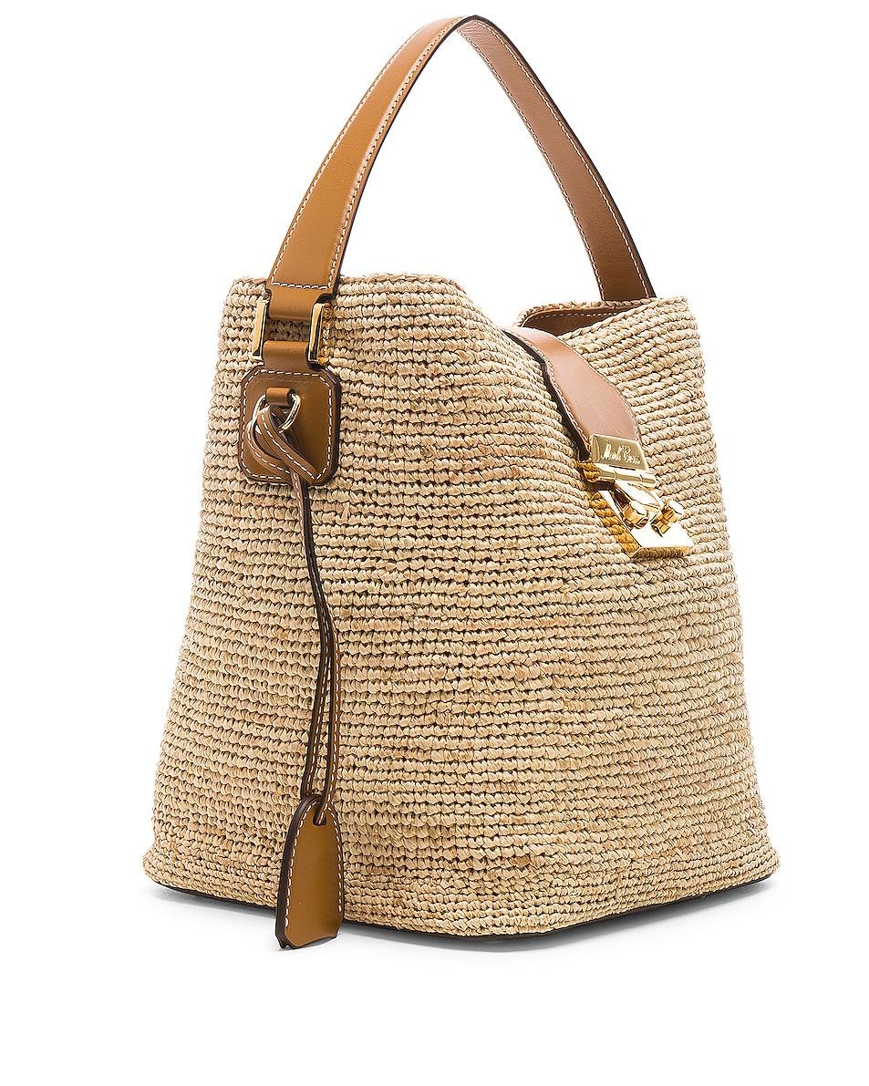 Image 4 of Mark Cross Murphy Raffia Bag in Natural & Luggage