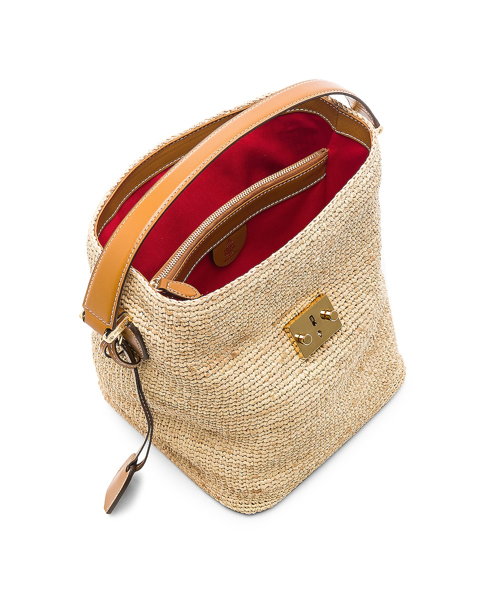 Image 5 of Mark Cross Murphy Raffia Bag in Natural & Luggage