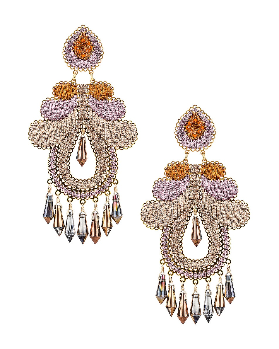 Image 1 of Mercedes Salazar Curubas Earrings in Orange, Pink & Beige