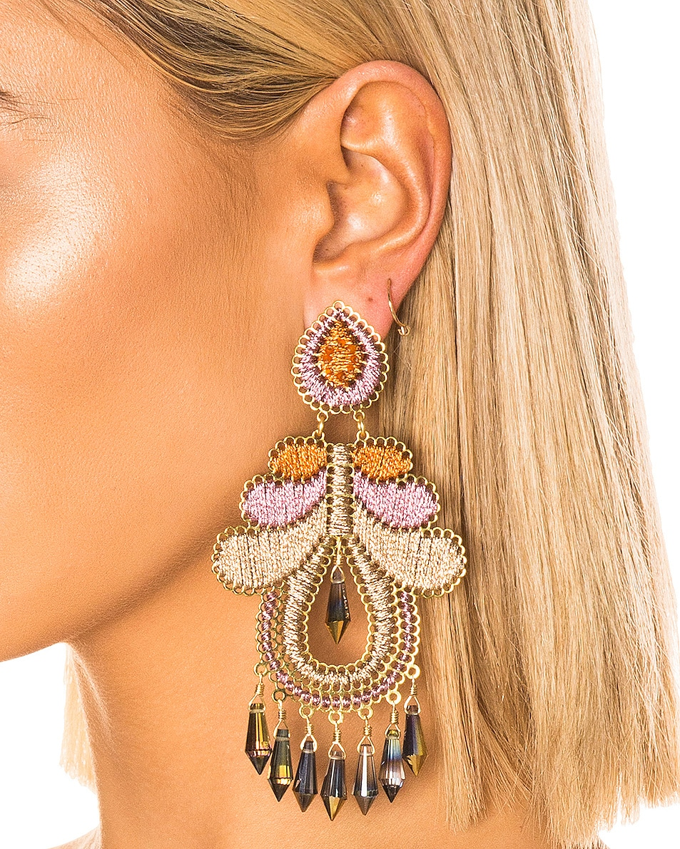 Image 2 of Mercedes Salazar Curubas Earrings in Orange, Pink & Beige