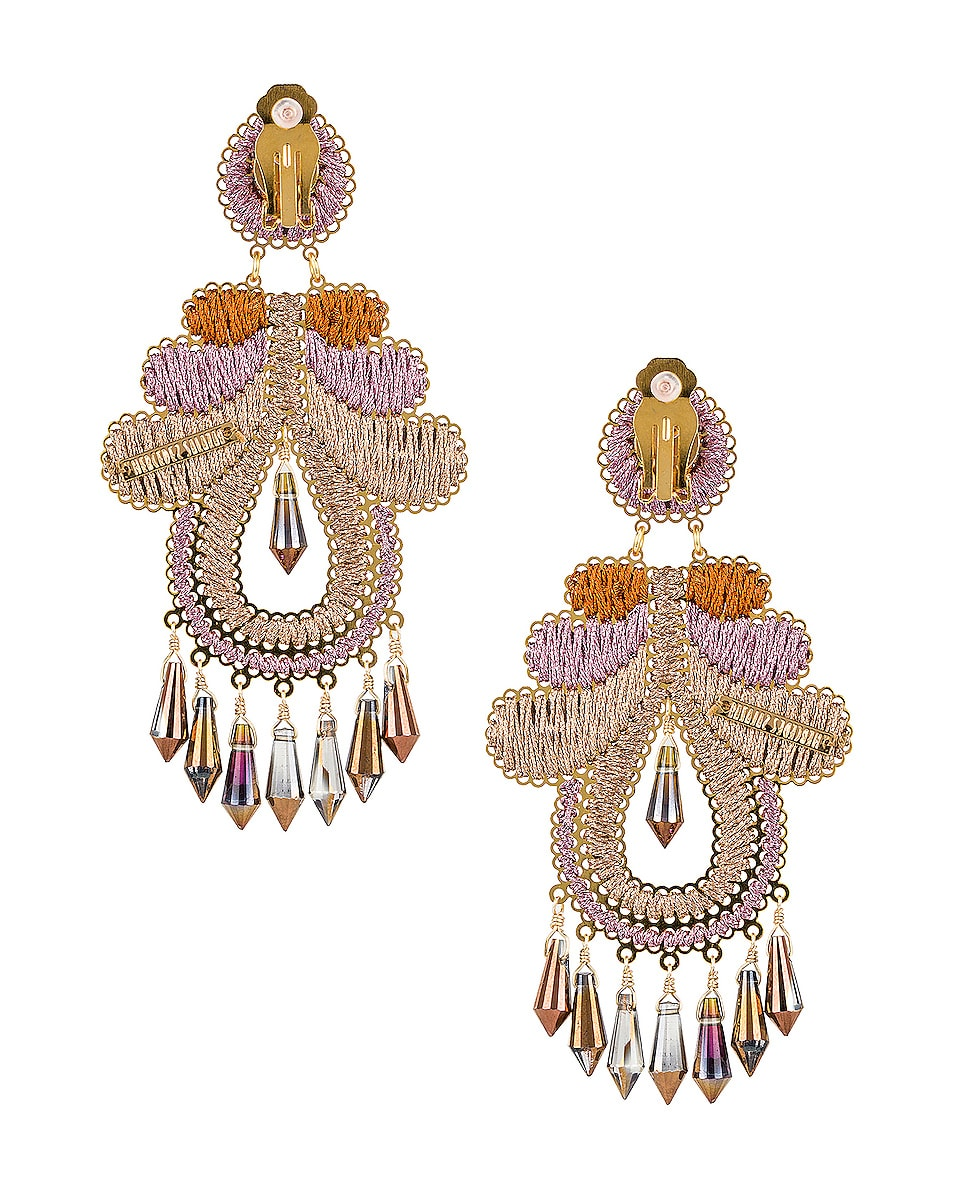 Image 4 of Mercedes Salazar Curubas Earrings in Orange, Pink & Beige
