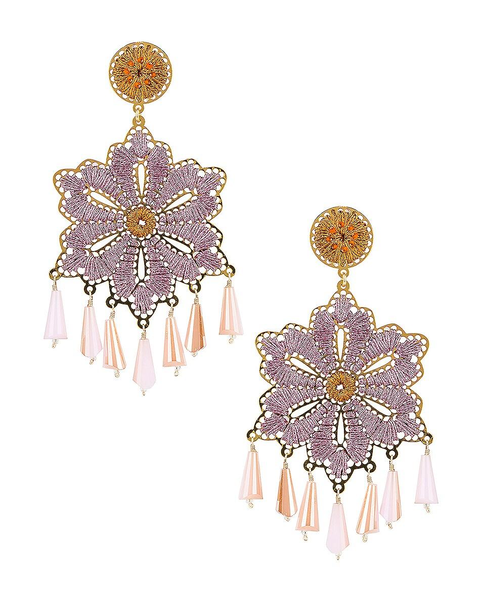 Image 1 of Mercedes Salazar Hibiscus Earrings in Orange & Pink
