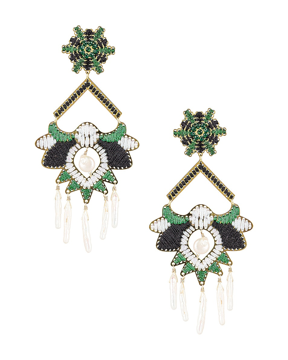 Image 1 of Mercedes Salazar Flor del Paramo Earrings in Black, Green & White
