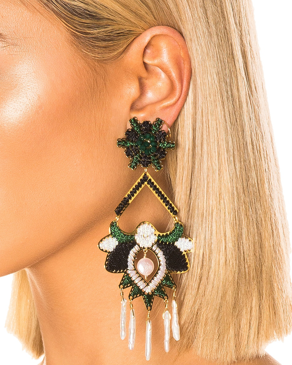 Image 2 of Mercedes Salazar Flor del Paramo Earrings in Black, Green & White