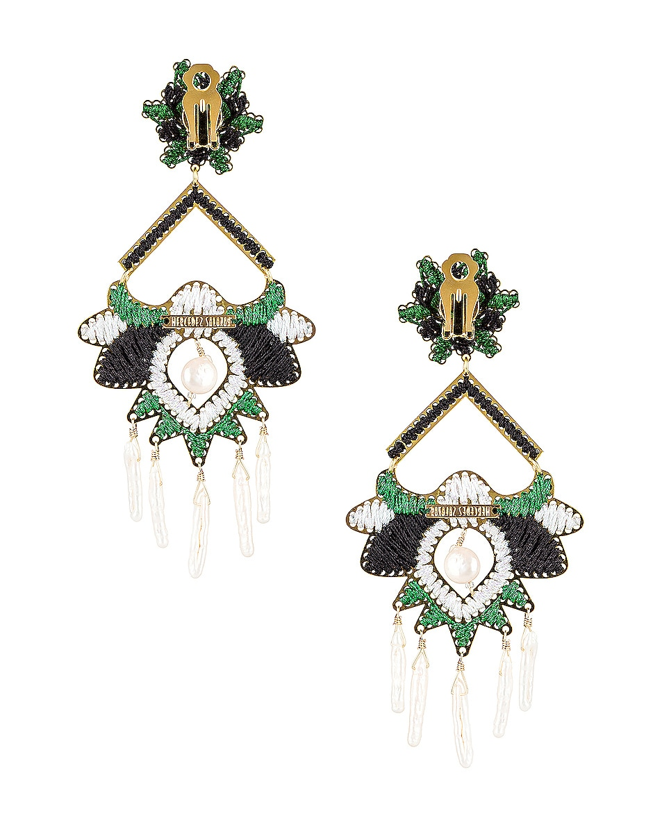 Image 4 of Mercedes Salazar Flor del Paramo Earrings in Black, Green & White