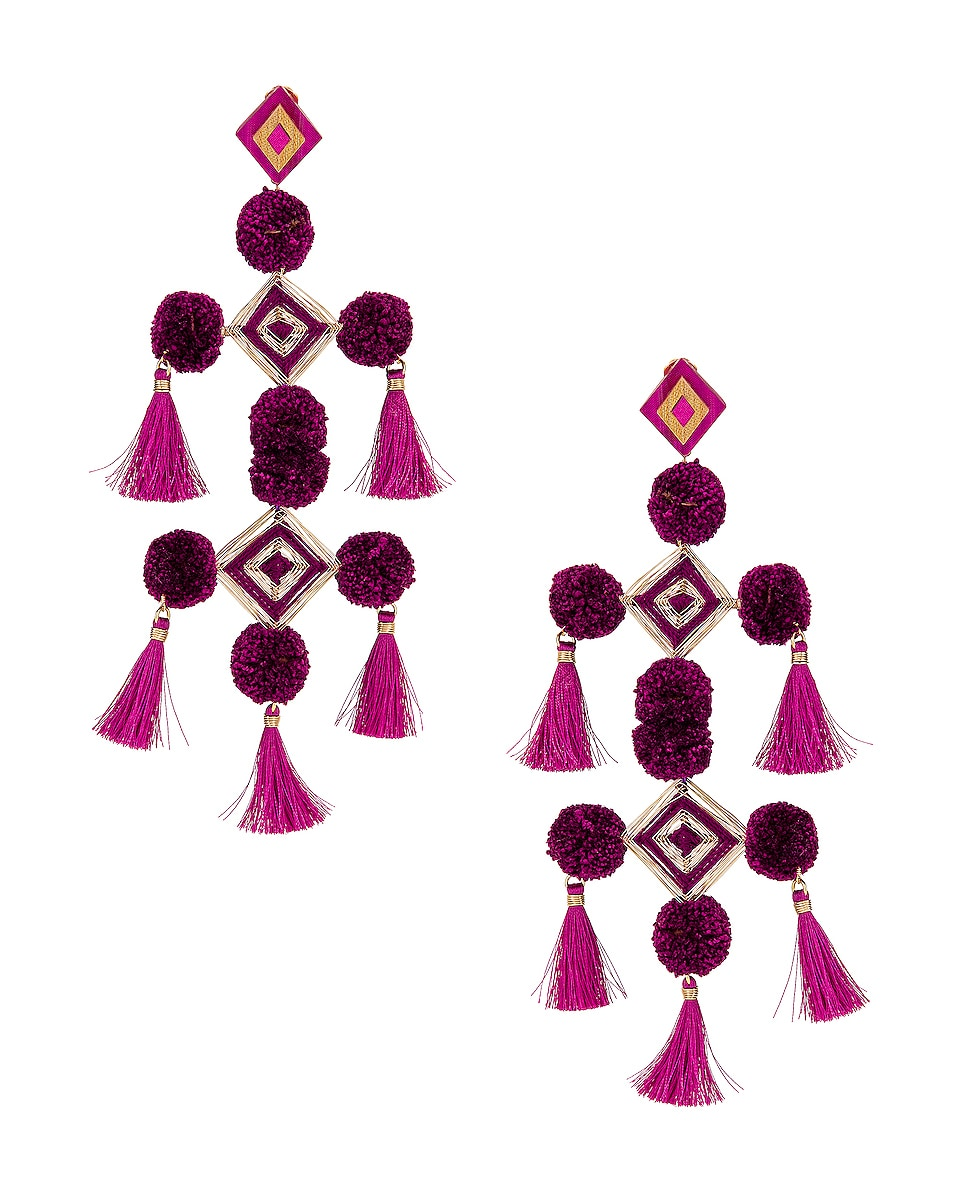 Image 1 of Mercedes Salazar Narar Doble Earrings in Fuchsia