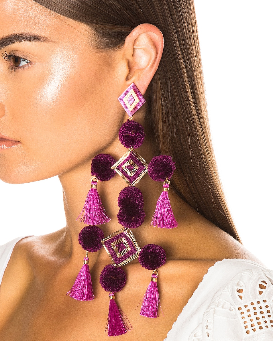 Image 2 of Mercedes Salazar Narar Doble Earrings in Fuchsia