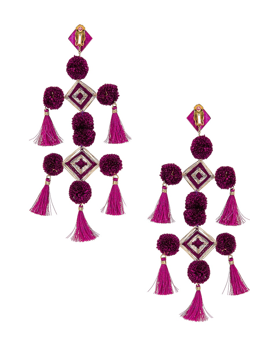 Image 4 of Mercedes Salazar Narar Doble Earrings in Fuchsia
