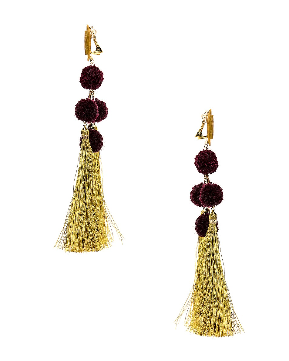 Image 3 of Mercedes Salazar Nazar Earrings in Burgundy