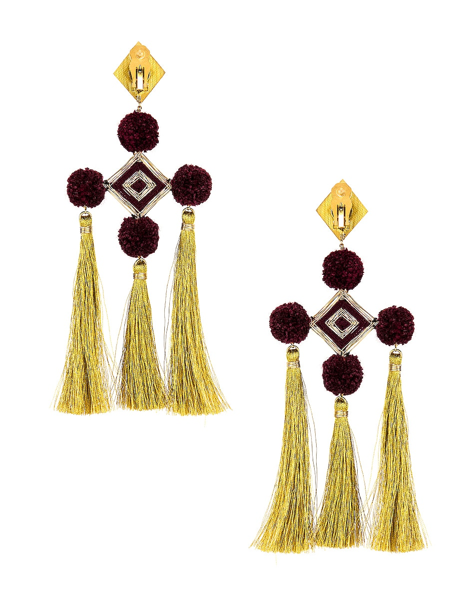 Image 4 of Mercedes Salazar Nazar Earrings in Burgundy